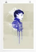 Audrey Hepburn III 90x60cm Paul Sinus Art Splash Art Wandbild als Poster ohne Rahmen gerollt
