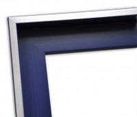 Echtholz Schattenfugenrahmen blau mit Silberkante