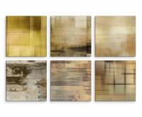 6 teiliges Leinwandbild je 30x30cm -  Abstrakt Muster Hell Expressiv Kunst