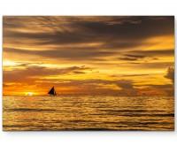 Sonnenuntergang am Strand – Philippinen - Leinwandbild