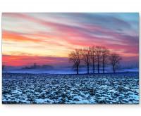 Landschaftsfotografie – idyllischer Sonnenuntergang über den Feldern - Leinwandbild