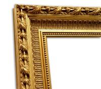 Exklusiver Echtholzrahmen Barock gold patiniert mit eleganter Strukturierung