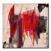 Rotes Tuch, abstrakt, 60x60cm