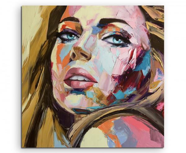 Abstraktes Ölgemälde – Blonde Frau auf Leinwand exklusives Wandbild moderne Fotografie für ihre Wand