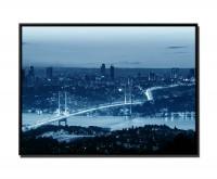 105x75cm Leinwandbild Petrol Sonnenuntergang Bosporusbrücke Istanbul
