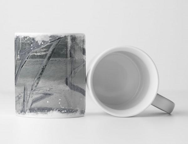 Tasse Geschenk hellgrau-dunkelgrau Grundierung graue Farbstreifen