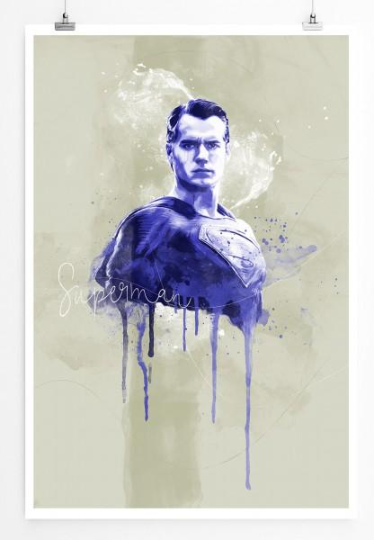Superman 90x60cm Paul Sinus Art Splash Art Wandbild als Poster ohne Rahmen gerollt