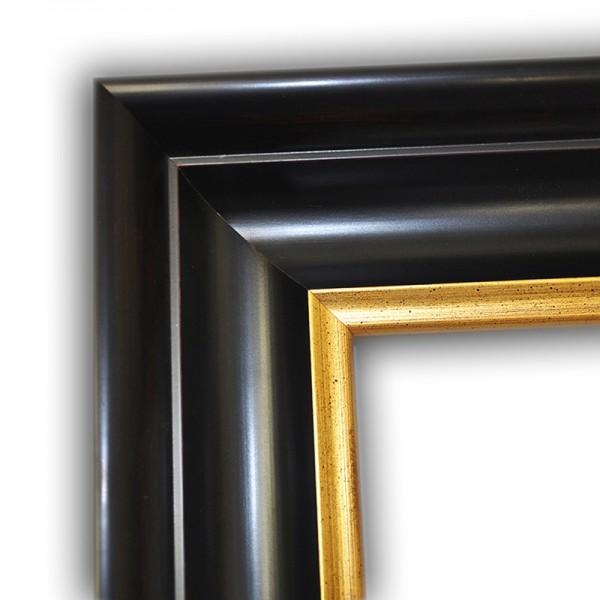 Klassischer Echtholzrahmen Schwarz Gold