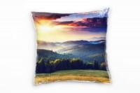 Landschaft, grün, gelb, Sonnenuntergang, Wald, Ukraine Deko Kissen 40x40cm für Couch Sofa Lounge Zie