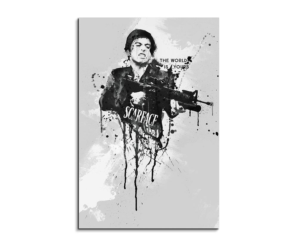 Al Pacino Scarface 90x60cm Aquarell Art Wandbild auf Leinwand fertig ...