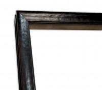 Exklusiver Echtholzrahmen in Leder-Optik in Schwarz