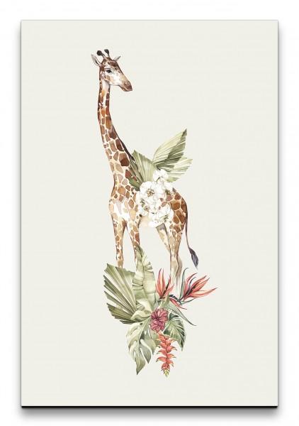 Giraffe Afrika Blumen Blätter Savanne Wasserfarben Kunstvoll