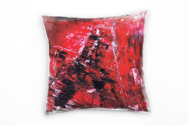 Couch Sofa Lounge Zierkissen in 40x40cm Rot Tomatenrot Schwarz Weiß