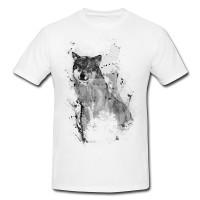 Wolf-2 Herren und Damen T-Shirt BLACK-WHITE