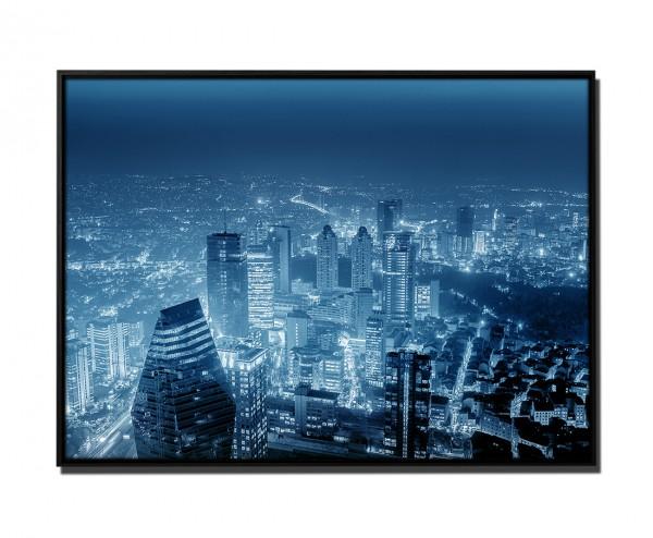 105x75cm Leinwandbild Petrol Nachts Skyline Istanbul