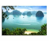 120x80cm Wandbild Vietnam Halong Bay Meer Felsen Strand