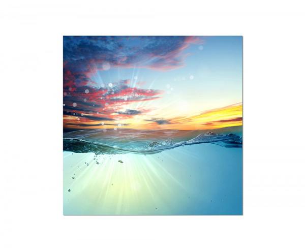 120x80cm Wandbild Ölgemälde Meer Wellen Segelboot Abendrot