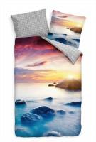 Felsen Sonnenuntergang Violett Blau Bettwäsche Set 135x200 cm + 80x80cm  Atmungsaktiv