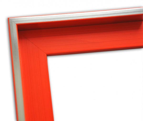 Echtholz Schattenfugenrahmen leuchtend orange mit Silberkante