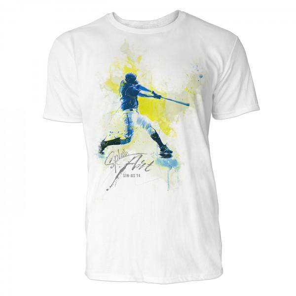 American Baseball Batter 2 Sinus Art ® T-Shirt Crewneck Tee with Frontartwork
