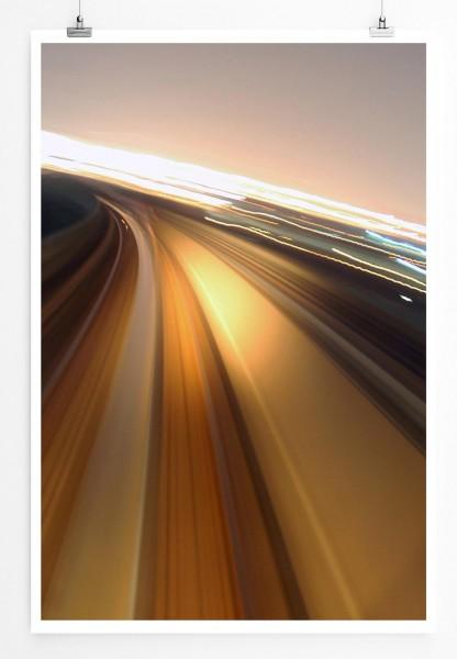60x90cm Urbane Fotografie Poster Autobahn bei starker Geschwindigkeit