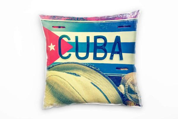 Urban Schild Kuba Sonnenhut Rot Beige Deko Kissen 40x40cm Fur
