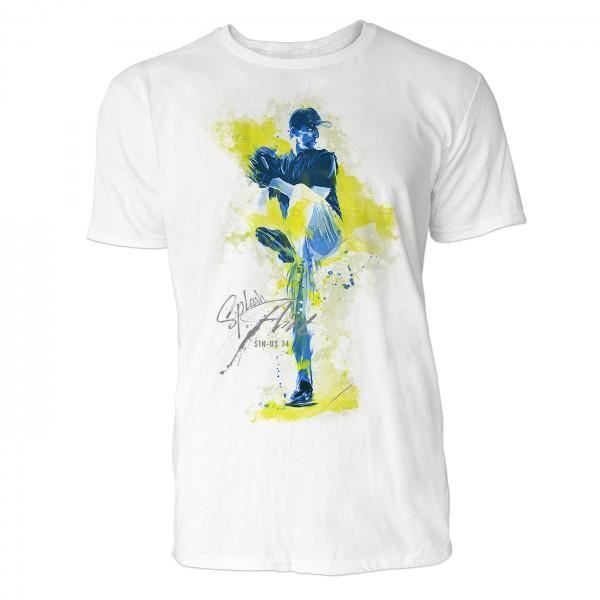 American Baseball Pitcher 1 Sinus Art ® T-Shirt Crewneck Tee with Frontartwork