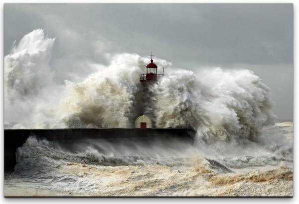 Sturm und Leuchtturm Wandbild in verschiedenen Größen