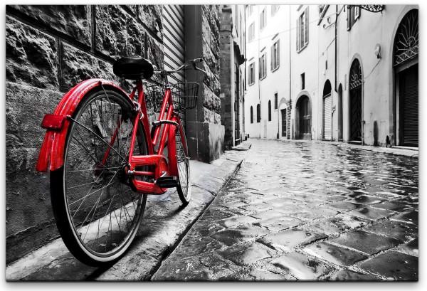Retro Fahrrad in alter Stadt Wandbild in verschiedenen Größen