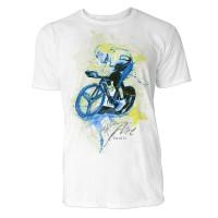 Radler seitlich Sinus Art ® T-Shirt Crewneck Tee with Frontartwork