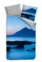 """Schottland D""""mmerung Strand Blau Bettwäsche Set 135x200 cm + 80x80cm  Atmungsaktiv"""