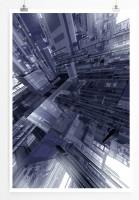 60x90cm Architektur Modell Poster Stadt aus Glas