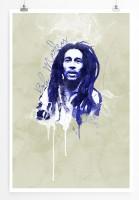 Bob Marley 90x60cm Paul Sinus Art Splash Art Wandbild als Poster ohne Rahmen gerollt