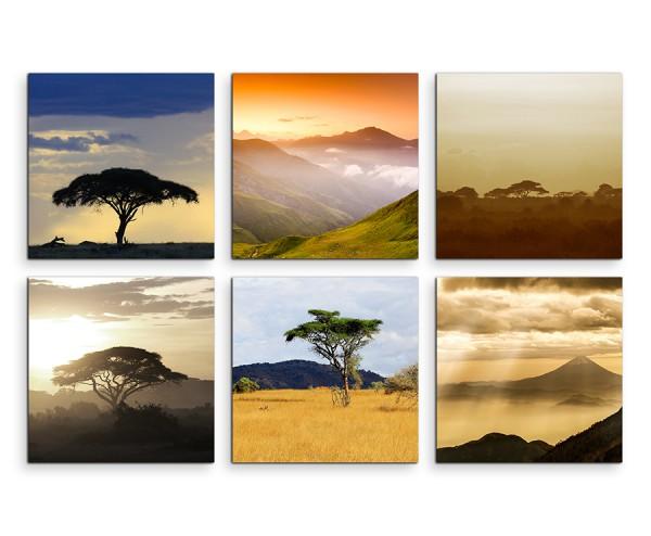 6 teiliges Leinwandbild je 30x30cm - Akazienbaum Afrika Wüste Sonnenuntergang