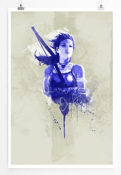 Lara Croft 90x60cm Paul Sinus Art Splash Art Wandbild als Poster ohne Rahmen gerollt