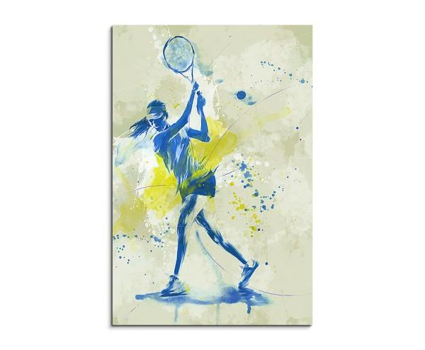 Tennis III 90x60cm SPORTBILDER Paul Sinus Art Splash Art Wandbild Aquarell Art