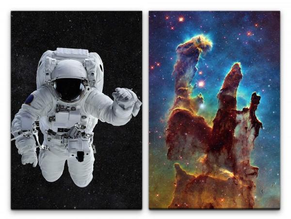 2 Bilder je 60x90cm Nebula Astronaut Sterngeburt Weltall Nebel Universum Gigantisch