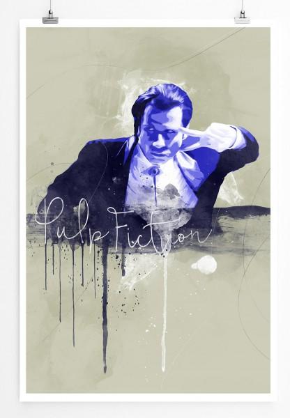 Pulp Fiction John Travolta 90x60cm Paul Sinus Art Splash Art Wandbild als Poster ohne Rahmen gerollt