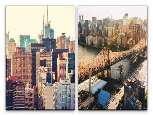 2 Bilder je 60x90cm New York Manhattan Mega City Wolkenkratzer Skyline Urban Großstadt