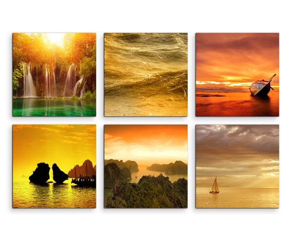 6 teiliges Leinwandbild je 30x30cm - Wasserfall Paradies Sonnenuntergang Meer Strand