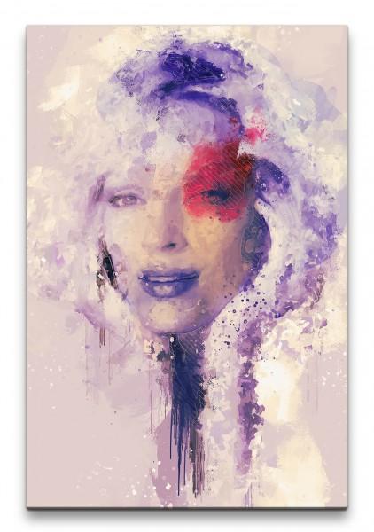 Uma Thurman Porträt Abstrakt Kunst Schauspielerin Farbenfroh 60x90cm Leinwandbild