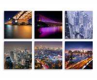 6 teiliges Leinwandbild je 30x30cm -  New York Skyline Amerika Nacht