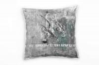 Couch Sofa Lounge Zierkissen in 40x40cm Silber Grau Wasserblau