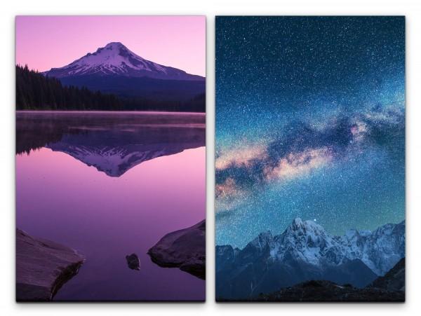 2 Bilder je 60x90cm Fuji Vulkan Milchstraße Sternenhimmel Ruhe Astrofotografie Zauberhaft