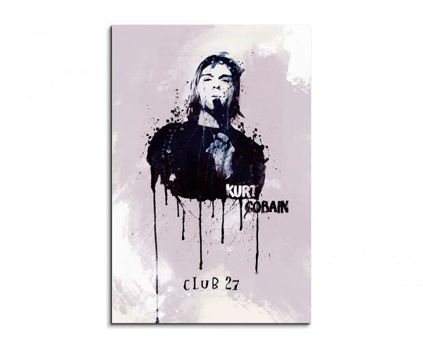 Kurt Cobain 90x60cm Aquarell Art Wandbild auf Leinwand fertig gerahmt Original Sinus Art