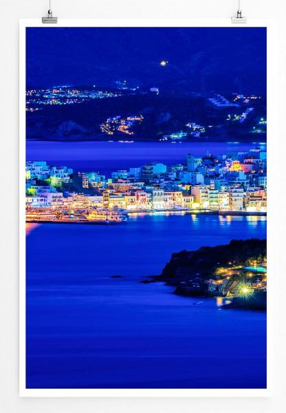 Agios Nikolaos bei Nacht Kreta Griechenland 60x90cm Poster