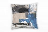 Couch Sofa Lounge Zierkissen in 40x40cm Junge Kornblumenblau Dunkelgrau Beige