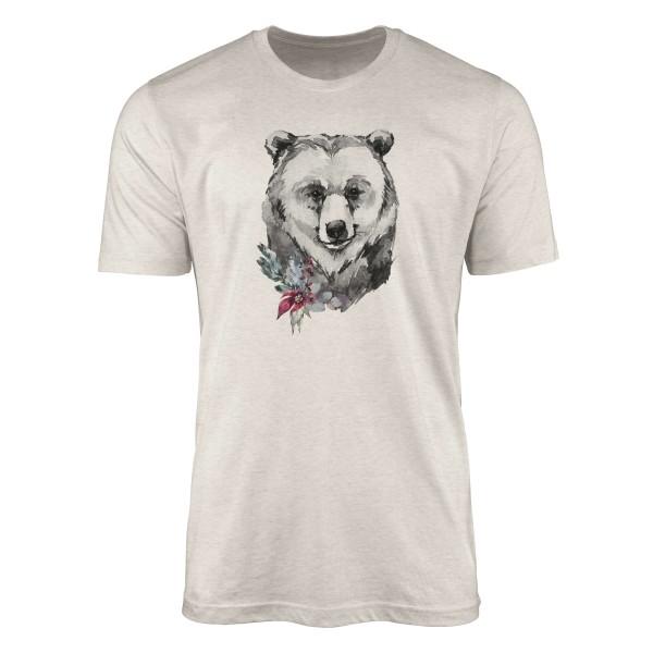 Herren Shirt 100% gekämmte Bio-Baumwolle T-Shirt Aquarell Porträt Bär Motiv Nachhaltig Ökomode aus