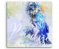 Blauer Ara mit Kalligraphie