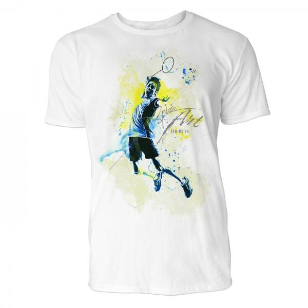 Tennis Sinus Art ® T-Shirt Crewneck Tee with Frontartwork
